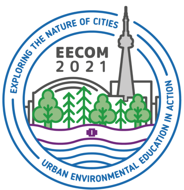 The logo for the 2021 EECOM conference taking place in Toronto which includes the ESE-TE Research Symposium. The logo features the Toronto skyline with buildings, trees and water, with the Two Row Wampum belt symbolizing The Dish with One Spoon Treaty. The theme for this conference is Exploring the Nature of Cities: Urban Environmental Education in Action.